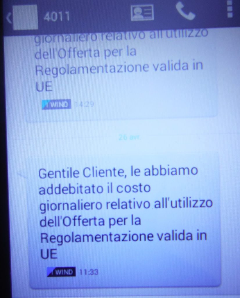 wind sms addebito tariffa roaming imposta